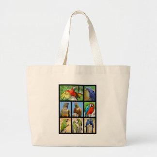 Mosaic photos of parrots large tote bag