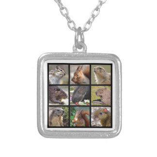 Mosaic photos of rodents silver plated necklace