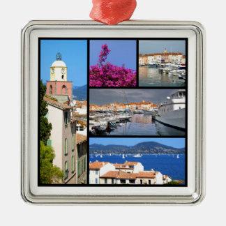 Mosaic photos of Saint Tropez in France Metal Ornament