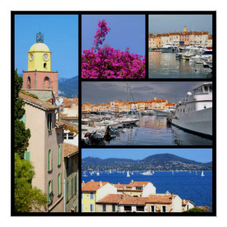 Mosaic photos of Saint Tropez in France Print