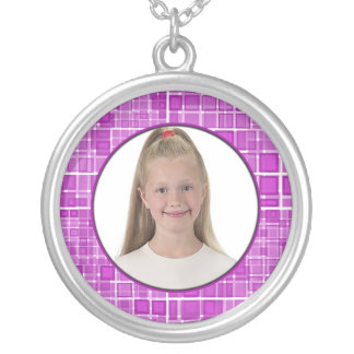 Mosaic Pink Frame Necklace Add Photo