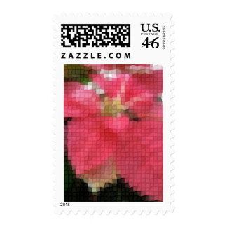 Mosaic Pink Poinsettia 2 Postage Stamp