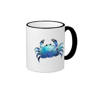 Mosaic Polygon Blue Crab Mugs