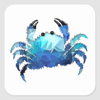 Mosaic Polygon Blue Crab Square Sticker