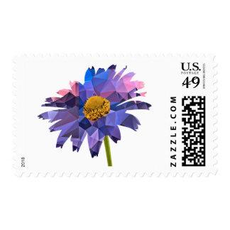 Mosaic Polygon Daisy Pink & Blue Stamp