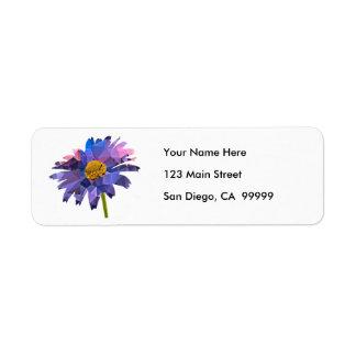 Mosaic Polygon Daisy Pink & Blue Return Address Label