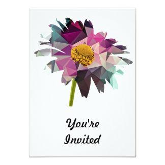 Mosaic Polygon Daisy Purple & Blue Custom Invitations