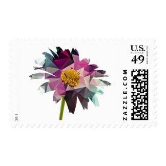 Mosaic Polygon Daisy Purple & Blue Postage