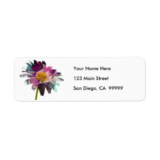 Mosaic Polygon Daisy Purple & Blue Return Address Label