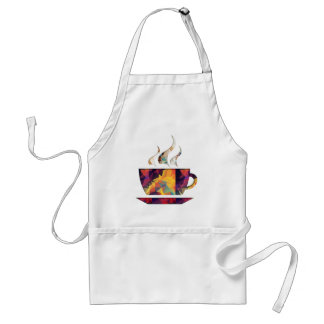 Mosaic Polygon Orange Cup of Cocoa or Coffee Adult Apron