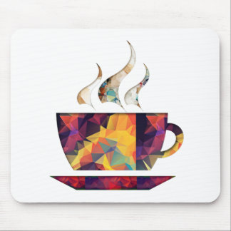 Mosaic Polygon Orange Cup of Cocoa or Coffee Mouse Pad