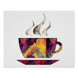 Mosaic Polygon Orange Cup of Cocoa or Coffee Poster