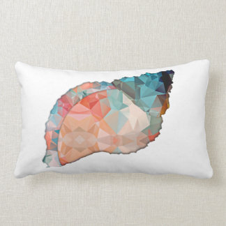Mosaic Polygon Orange & Turquoise Conch Shell Throw Pillow