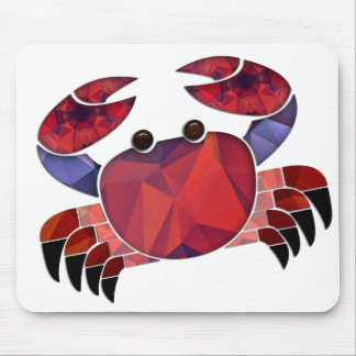 Mosaic Polygon Red Crab Mouse Pad