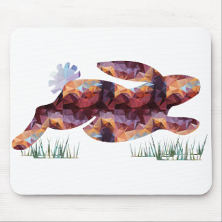 Mosaic Polygon Running Rabbit Brown Mouse Pads