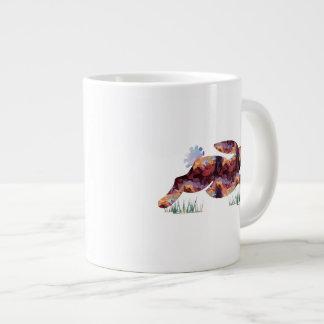 Mosaic Polygon Running Rabbit Brown Extra Large Mug