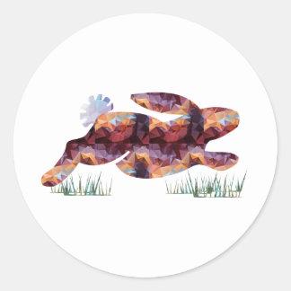 Mosaic Polygon Running Rabbit Brown Classic Round Sticker