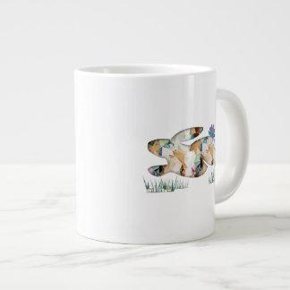 Mosaic Polygon Running Rabbit Tan Jumbo Mug