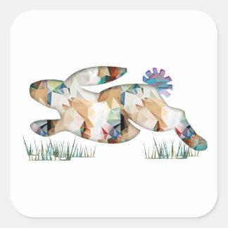 Mosaic Polygon Running Rabbit Tan Square Sticker