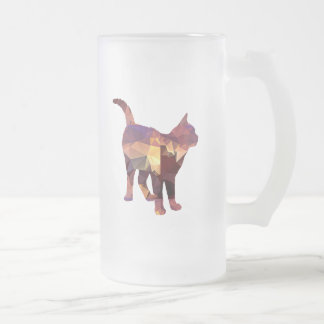 Mosaic Polygon Standing Calico Cat Brown & Tan Frosted Glass Beer Mug