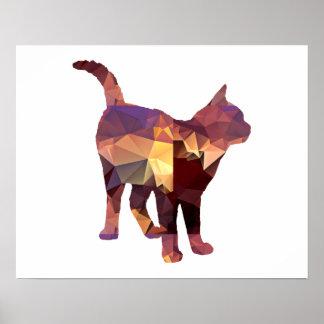 Mosaic Polygon Standing Calico Cat Brown & Tan Poster