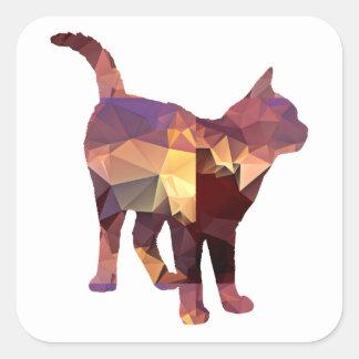 Mosaic Polygon Standing Calico Cat Brown & Tan Sticker