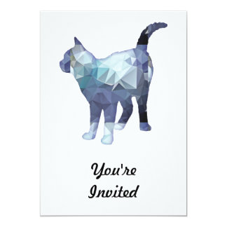 Mosaic Polygon Standing Tabby Cat Blue Grey Invitation