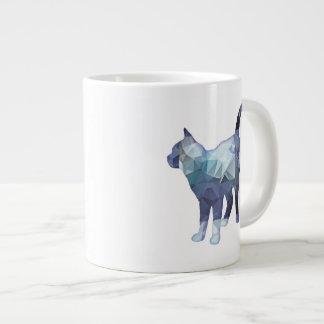 Mosaic Polygon Standing Tabby Cat Blue Grey Large Coffee Mug