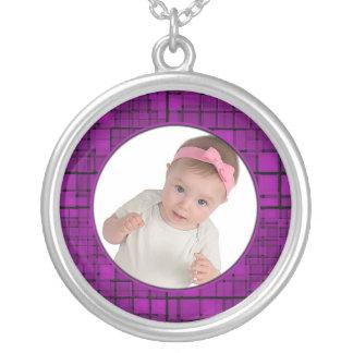 Mosaic Purple Frame Necklace Add Photo