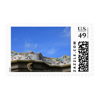 Mosaic railings in Gaudi s Park Guell Postage Stamp