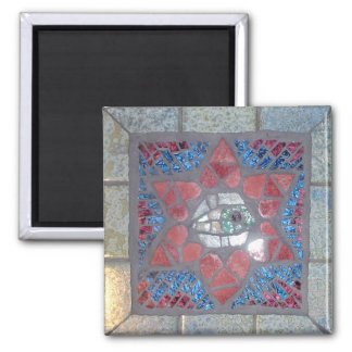 Mosaic Red Heart Star of David with Evil Eye 2 Inch Square Magnet