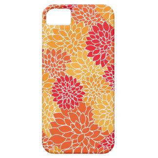Mosaic Red Yellow Gold Mums Flower Modern Pattern iPhone SE/5/5s Case
