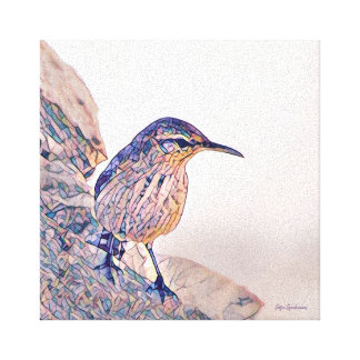 Mosaic Rock Wren Stretched Canvas
