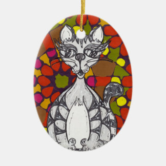 Mosaic Scribby Cat 1 Ornament