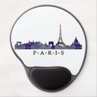 Mosaic Silhouette of Paris Skyline Gel Mousepads