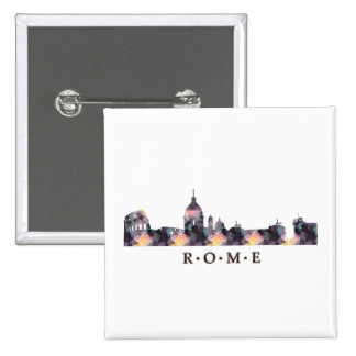 Mosaic Silhouette of Rome Skyline Pinback Button