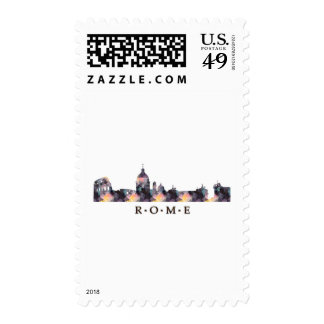 Mosaic Silhouette of Rome Skyline Stamp