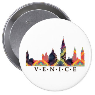 Mosaic Silhouette of Venice Skyline Button