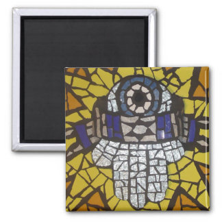 Mosaic Silver Hamsa Star Tallit and Evil Eye 2 Inch Square Magnet