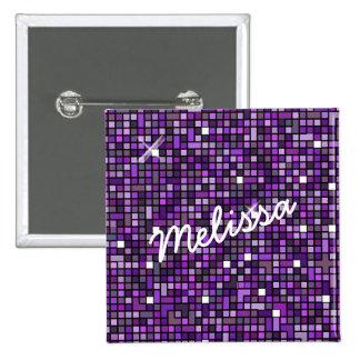 Mosaic Sparkle Squares Purple SSTX Pinback Button