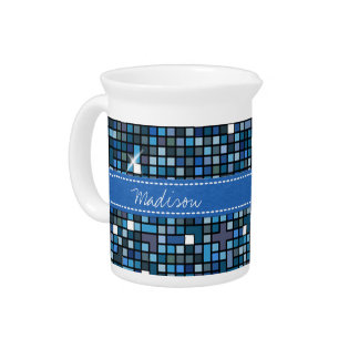 Mosaic Squares Blue SSTX Beverage Pitcher