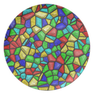 Mosaic Stained-glass Window. Retro Vintage Pattern Dinner Plate
