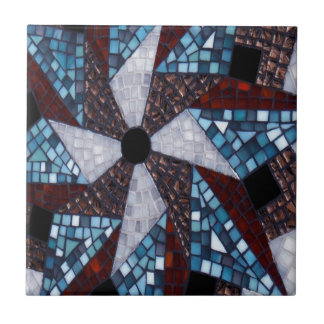 Mosaic Star Design Abstract Art Red Blue Tile