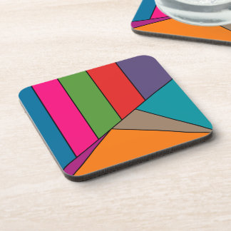 MOSAIC stripes triangles colored III + your ideas Drink Coaster