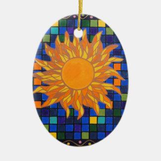 Mosaic Sun Ceramic Ornament