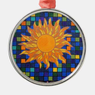 Mosaic Sun Metal Ornament