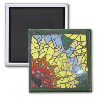 Mosaic Sunflower 2 Inch Square Magnet