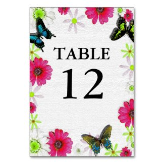 Mosaic Texture with Flowers & Butterflies Wedding Table Number