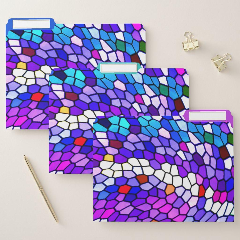 Mosaic Tile Pattern Purple Blue File Folder Set