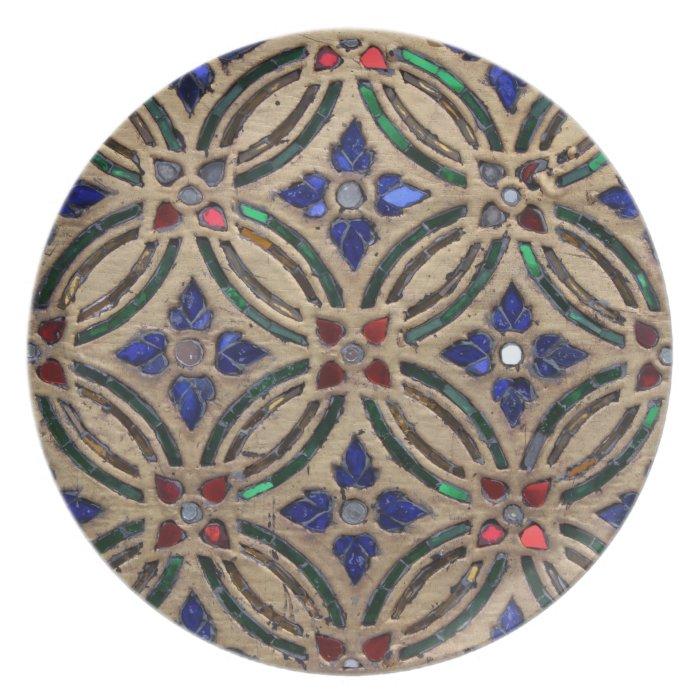 Mosaic tile pattern stone glass Moroccan photo Plate